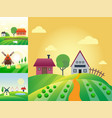 farm agriculture banner rural landscape products vector image vector image
