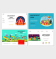 flat amusement park websites set vector image vector image