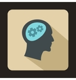 Gear in head icon flat style vector image vector image