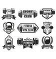 gym labels sport bodybuilding fitness equipment vector image