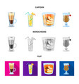 isolated object liquor and restaurant icon set vector image vector image