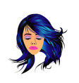 Make up and hair graphic- Lady with a pout vector image vector image