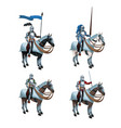 medieval warriors on horse icons vector image