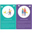 people in park poster couple together man walk dog vector image vector image