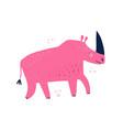 pink rhino hand drawn flat vector image vector image