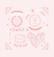 pink wedding design element icon set in vector image
