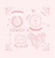 pink wedding design element icon set in vector image
