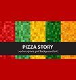 pixel pattern set pizza story seamless pixel art vector image vector image