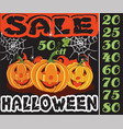 pumpkin and sale in the holiday halloween design vector image vector image