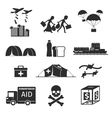 Refugees evacuee concept War victims black icons vector image