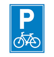 road sign bicycle parking vector image vector image