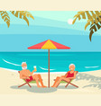 seniors relaxes on a sea beach vector image vector image