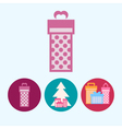 Set icons with gift boxes christmas tree vector image vector image