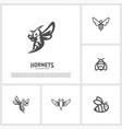 set of bee logo design hornets logo template vector image