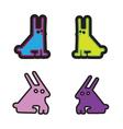 set of four rabbits acid colors vector image