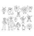 Set of hand drawn cartoon farm animals and male