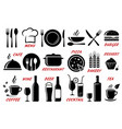 set of restaurant cafe icons silhouettes vector image vector image