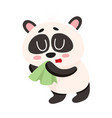 sick panda having cold flu blowing its nose into vector image vector image