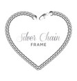 silver chain heart love border frame vector image vector image