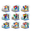 stay home motivational set people in balconies vector image