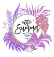 summer tropical leaves exotic greeting vector image vector image