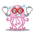 super hero cute jellyfish character cartoon vector image vector image