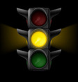 Traffic light with yellow on vector image vector image