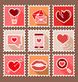 valentines day postage stamps vector image vector image
