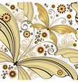 vintage pattern with gold butterflies vector image vector image