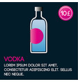 vodka card template with price and flat background vector image