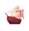 wooden boat with white sails vector image