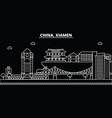 xiamen silhouette skyline china - xiamen vector image vector image