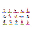 yoga kids cartoon children doing yoga sporting vector image vector image