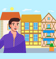 young guy tourist on old town street colorful vector image vector image