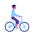 young man riding blue bike icon vector image