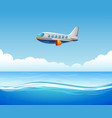a commercial plane flying over sea vector image vector image