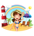 A girl enjoying summer vector image vector image