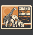 african safari animals hunting vector image vector image