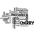 best recipes merry cherry milkshake text word vector image vector image