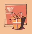 birthday gift box wrapped ribbon retro party vector image vector image