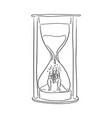 businessman feeling sad in the big hourglass vector image