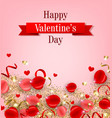 card with rose petals and gold vector image