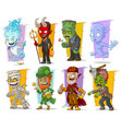 cartoon cool funny monster characters set vector image vector image