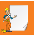 cartoon engineer blank paper vector image vector image