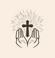 church logo or label prayer religion concept vector image vector image