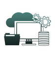computer with folder in cloud blue lines vector image vector image