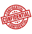 confidential round red grunge stamp vector image