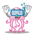 diving cute jellyfish character cartoon vector image