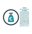 Euro Money Bag Rounded Icon with 1000 Bonus Icons vector image vector image
