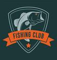 fishing club badge with ribbon and bass fish vector image vector image